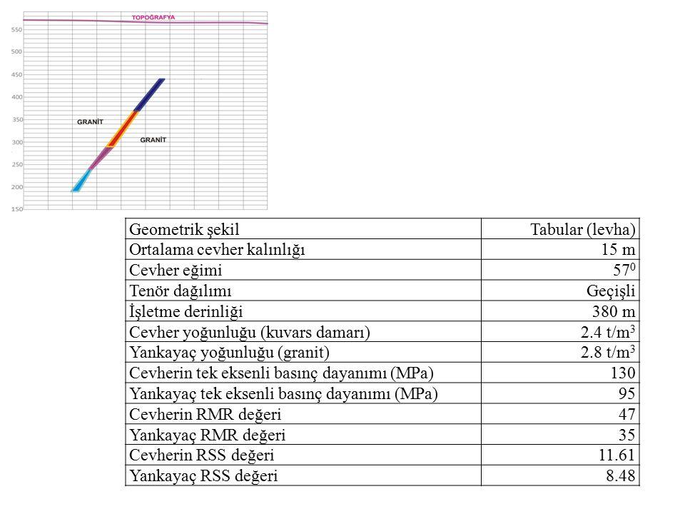 Geometrik şekilTabular (levha) Ortalama cevher kalınlığı15 m Cevher eğimi57 0 Tenör dağılımıGeçişli İşletme derinliği380 m Cevher yoğunluğu (kuvars damarı)2.4 t/m 3 Yankayaç yoğunluğu (granit)2.8 t/m 3 Cevherin tek eksenli basınç dayanımı (MPa)130 Yankayaç tek eksenli basınç dayanımı (MPa)95 Cevherin RMR değeri47 Yankayaç RMR değeri35 Cevherin RSS değeri11.61 Yankayaç RSS değeri8.48
