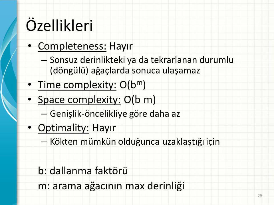 25 Özellikleri Completeness: Hayır – Sonsuz derinlikteki ya da tekrarlanan durumlu (döngülü) ağaçlarda sonuca ulaşamaz Time complexity: O(b m ) Space complexity: O(b m) – Genişlik-öncelikliye göre daha az Optimality: Hayır – Kökten mümkün olduğunca uzaklaştığı için b: dallanma faktörü m: arama ağacının max derinliği