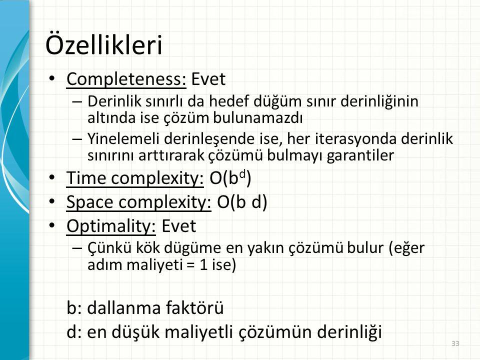 33 Özellikleri Completeness: Evet – Derinlik sınırlı da hedef düğüm sınır derinliğinin altında ise çözüm bulunamazdı – Yinelemeli derinleşende ise, her iterasyonda derinlik sınırını arttırarak çözümü bulmayı garantiler Time complexity: O(b d ) Space complexity: O(b d) Optimality: Evet – Çünkü kök dügüme en yakın çözümü bulur (eğer adım maliyeti = 1 ise) b: dallanma faktörü d: en düşük maliyetli çözümün derinliği
