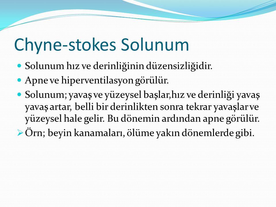 Chyne-stokes Solunum Solunum hız ve derinliğinin düzensizliğidir. Apne ve hiperventilasyon görülür. Solunum; yavaş ve yüzeysel başlar,hız ve derinliği