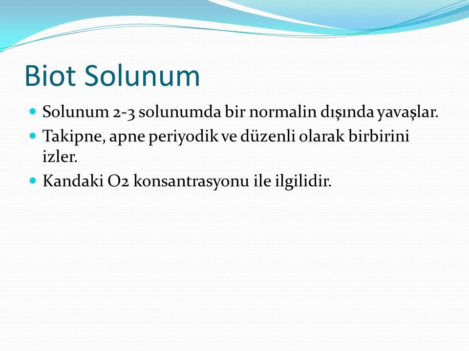 Biot Solunum Solunum 2-3 solunumda bir normalin dışında yavaşlar. Takipne, apne periyodik ve düzenli olarak birbirini izler. Kandaki O2 konsantrasyonu