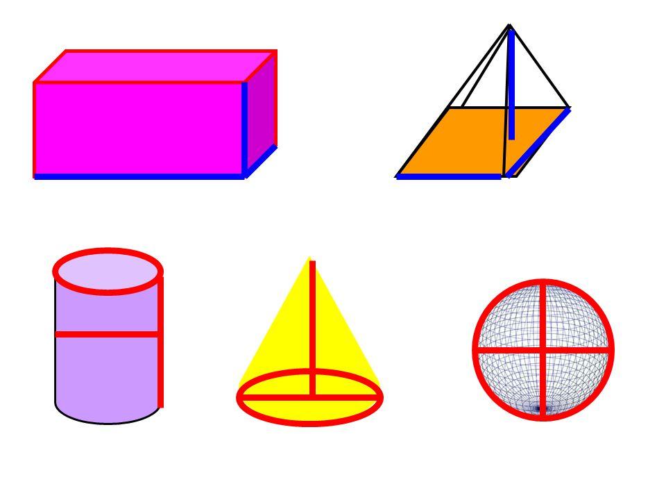 Prizmalar, piramitler, silindir, küre ve koni gibi tüm geometrik cisimler üç boyutludur.
