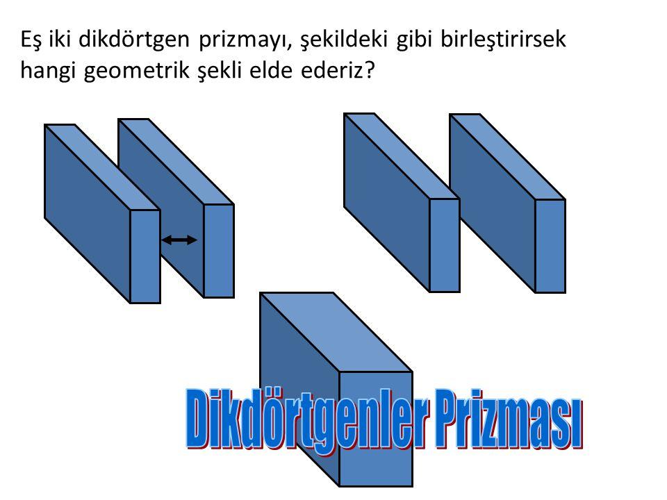 Eş iki kare prizmayı, şekildeki gibi birleştirirsek hangi geometrik şekli elde ederiz?