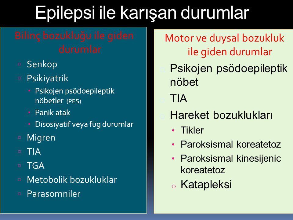 Epilepsi ile karışan durumlar Bilinç bozukluğu ile giden durumlar  Senkop  Psikiyatrik  Psikojen psödoepileptik nöbetler (PES)  Panik atak  Disos