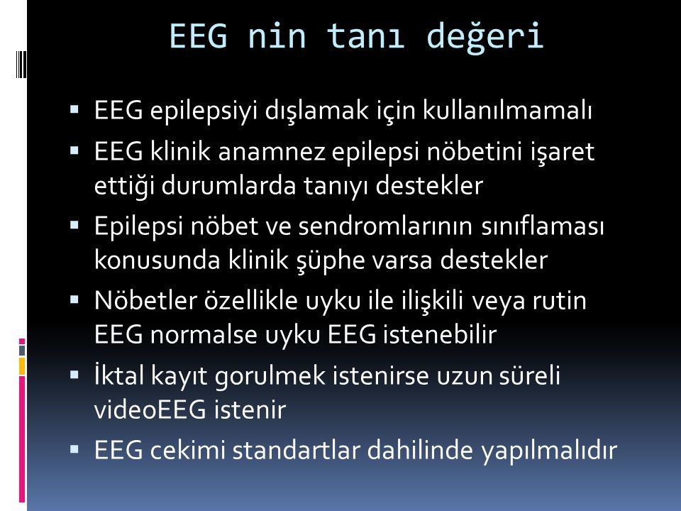 EEG nin tanı değeri  EEG epilepsiyi dışlamak için kullanılmamalı  EEG klinik anamnez epilepsi nöbetini işaret ettiği durumlarda tanıyı destekler  E
