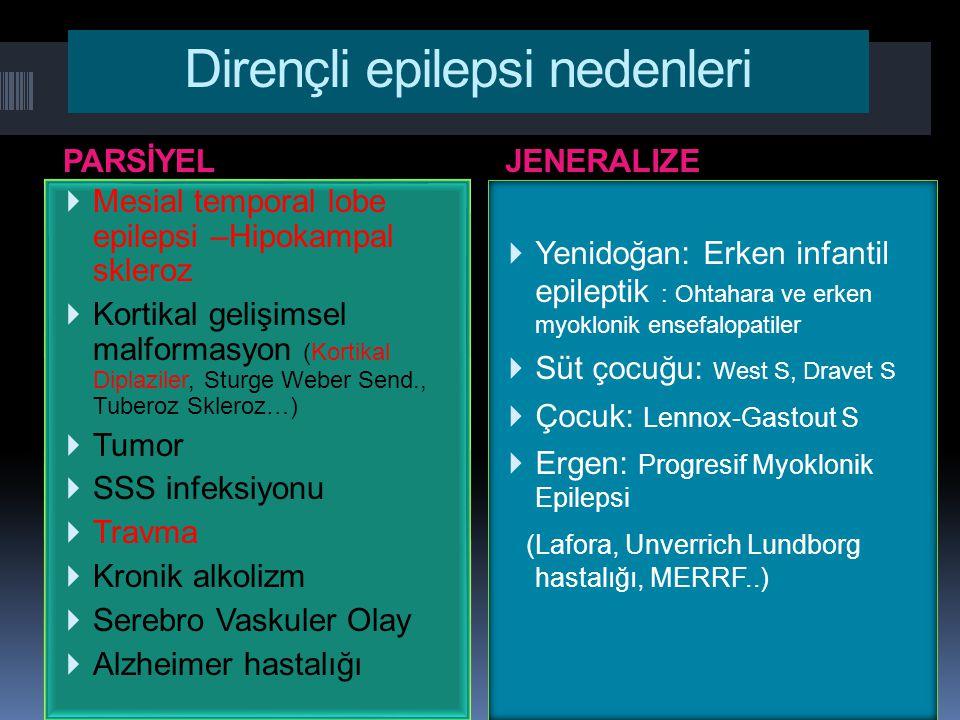 Dirençli epilepsi nedenleri PARSİYELJENERALIZE  Mesial temporal lobe epilepsi –Hipokampal skleroz  Kortikal gelişimsel malformasyon (Kortikal Diplaz