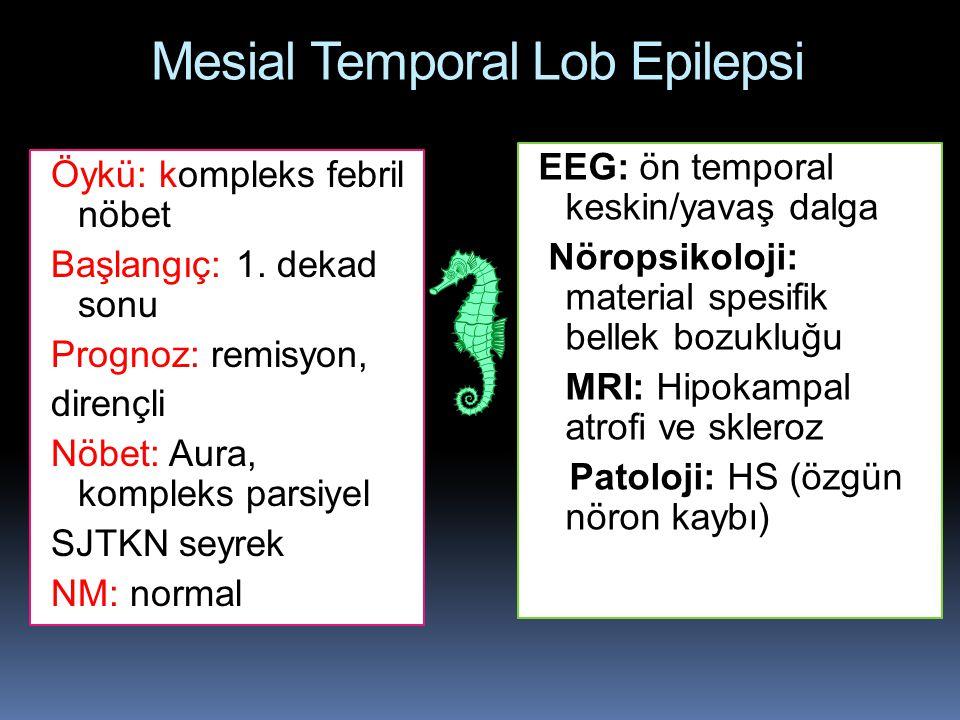 Mesial Temporal Lob Epilepsi EEG: ön temporal keskin/yavaş dalga Nöropsikoloji: material spesifik bellek bozukluğu MRI: Hipokampal atrofi ve skleroz P