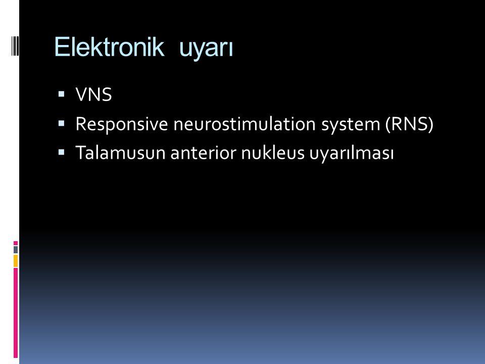 Elektronik uyarı  VNS  Responsive neurostimulation system (RNS)  Talamusun anterior nukleus uyarılması