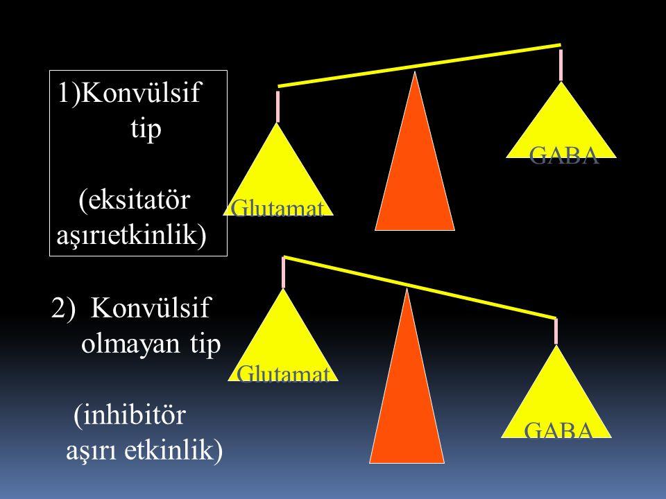 Glutamat GABA GABA 1)Konvülsif tip (eksitatör aşırıetkinlik) 2) Konvülsif olmayan tip (inhibitör aşırı etkinlik)