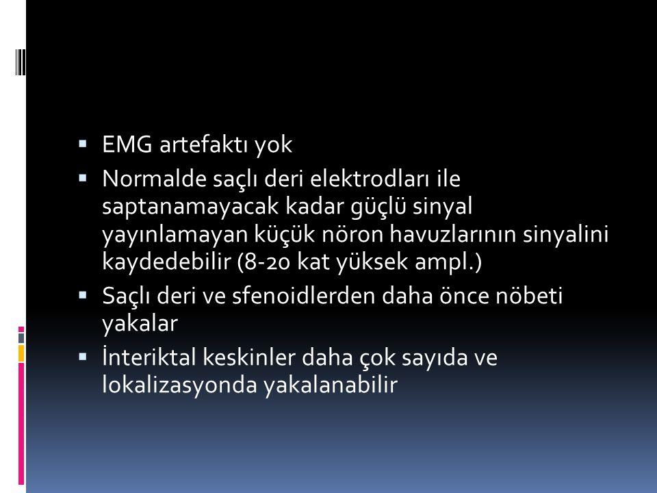  EMG artefaktı yok  Normalde saçlı deri elektrodları ile saptanamayacak kadar güçlü sinyal yayınlamayan küçük nöron havuzlarının sinyalini kaydedebi