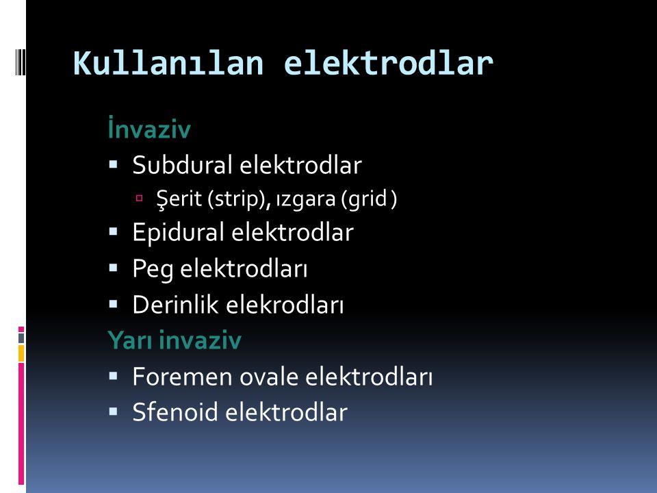 Kullanılan elektrodlar İnvaziv  Subdural elektrodlar  Şerit (strip), ızgara (grid )  Epidural elektrodlar  Peg elektrodları  Derinlik elekrodları