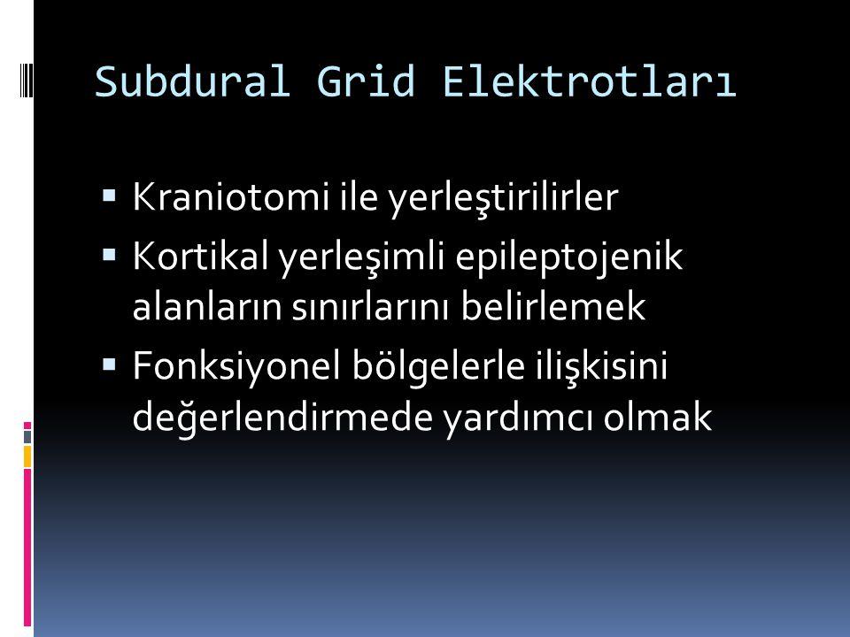 Subdural Grid Elektrotları  Kraniotomi ile yerleştirilirler  Kortikal yerleşimli epileptojenik alanların sınırlarını belirlemek  Fonksiyonel bölgel