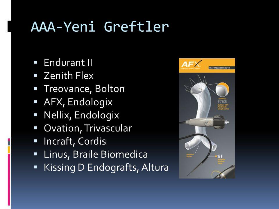 AAA-Yeni Greftler  Endurant II  Zenith Flex  Treovance, Bolton  AFX, Endologix  Nellix, Endologix  Ovation, Trivascular  Incraft, Cordis  Linu