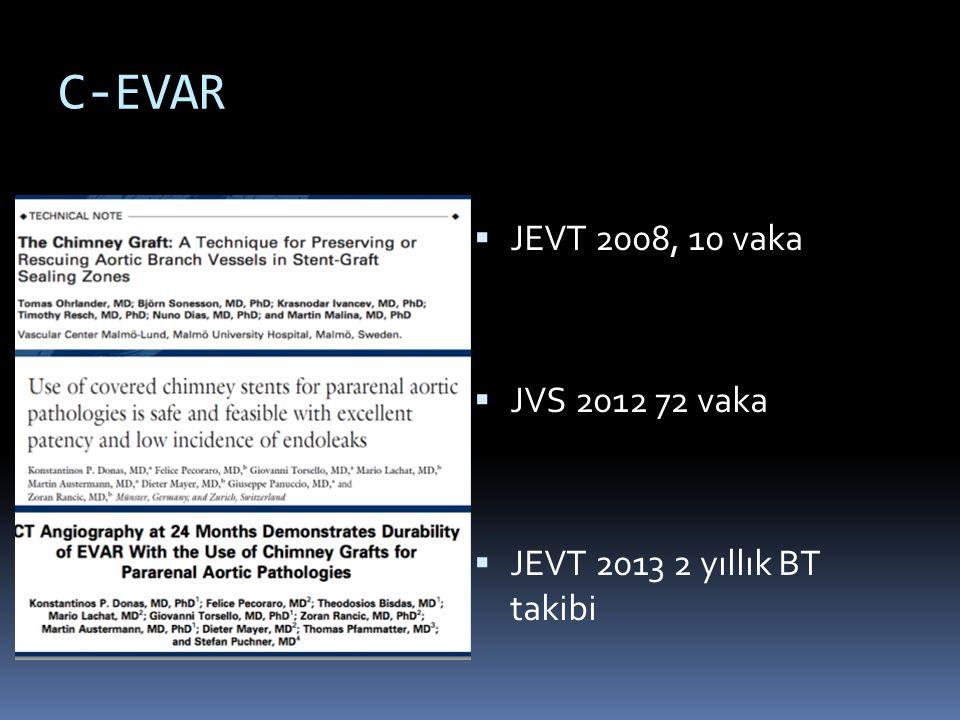 C-EVAR  JEVT 2008, 10 vaka  JVS 2012 72 vaka  JEVT 2013 2 yıllık BT takibi