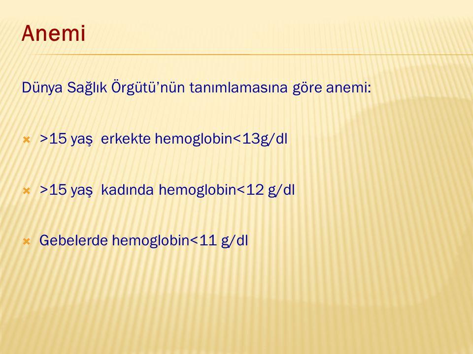 Dünya Sağlık Örgütü'nün tanımlamasına göre anemi:  >15 yaş erkekte hemoglobin<13g/dl  >15 yaş kadında hemoglobin<12 g/dl  Gebelerde hemoglobin<11 g