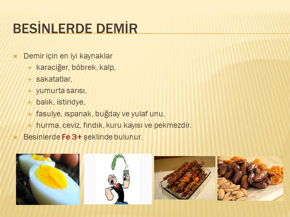 BESİNLERDE DEMİR  Demir için en iyi kaynaklar  karaciğer, böbrek, kalp,  sakatatlar,  yumurta sarısı,  balık, istiridye,  fasulye, ıspanak, buğd