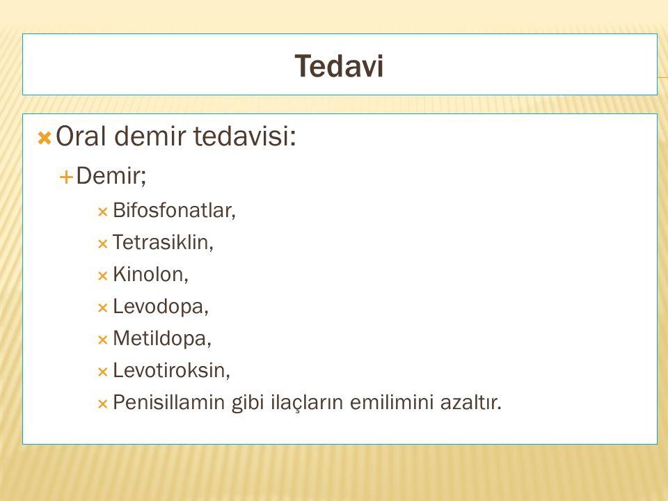 Tedavi  Oral demir tedavisi:  Demir;  Bifosfonatlar,  Tetrasiklin,  Kinolon,  Levodopa,  Metildopa,  Levotiroksin,  Penisillamin gibi ilaçlar
