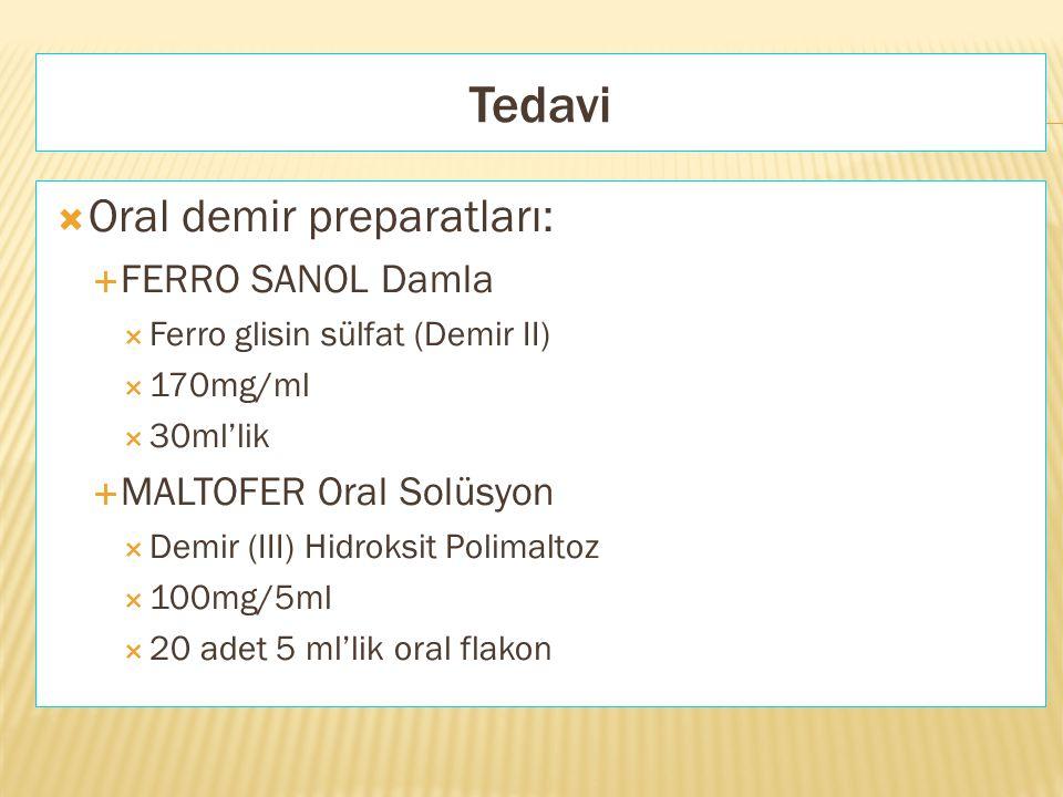  Oral demir preparatları:  FERRO SANOL Damla  Ferro glisin sülfat (Demir II)  170mg/ml  30ml'lik  MALTOFER Oral Solüsyon  Demir (III) Hidroksit
