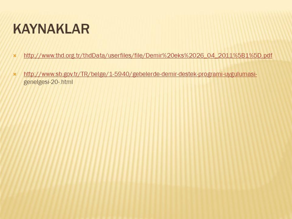 KAYNAKLAR  http://www.thd.org.tr/thdData/userfiles/file/Demir%20eks%2026_04_2011%5B1%5D.pdf http://www.thd.org.tr/thdData/userfiles/file/Demir%20eks%