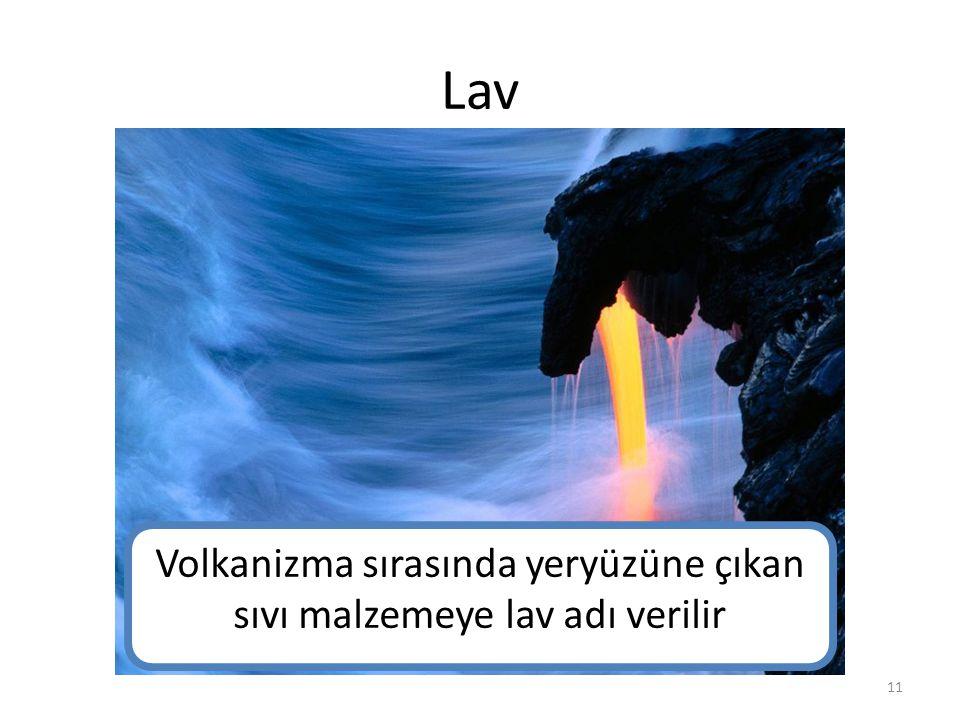 Lav Volkanizma sırasında yeryüzüne çıkan sıvı malzemeye lav adı verilir 11