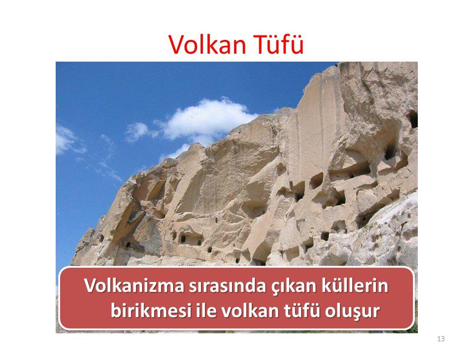 Volkan Tüfü Volkanizma sırasında çıkan küllerin birikmesi ile volkan tüfü oluşur 13
