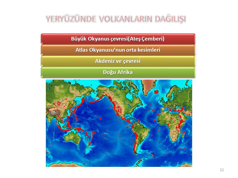 Büyük Okyanus çevresi(Ateş Çemberi) Atlas Okyanusu'nun orta kesimleri Akdeniz ve çevresi Doğu Afrika 22