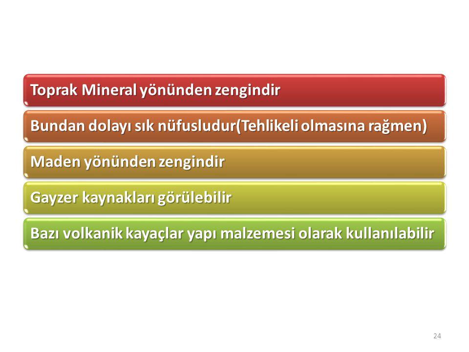 Toprak Mineral yönünden zengindir Bundan dolayı sık nüfusludur(Tehlikeli olmasına rağmen) Maden yönünden zengindir Gayzer kaynakları görülebilir Bazı
