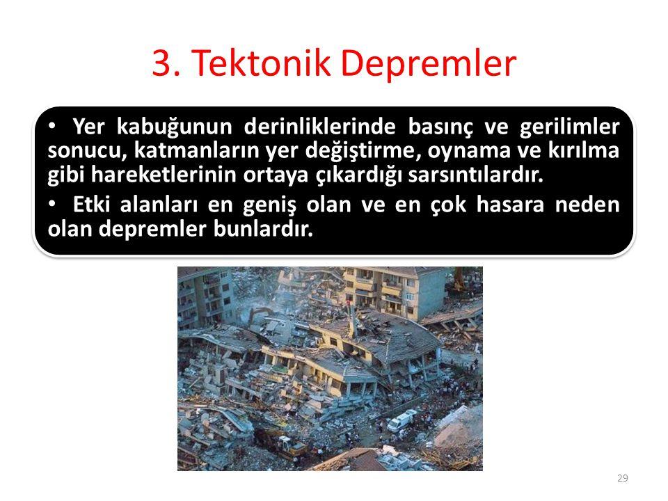 3. Tektonik Depremler Yer kabuğunun derinliklerinde basınç ve gerilimler sonucu, katmanların yer değiştirme, oynama ve kırılma gibi hareketlerinin ort