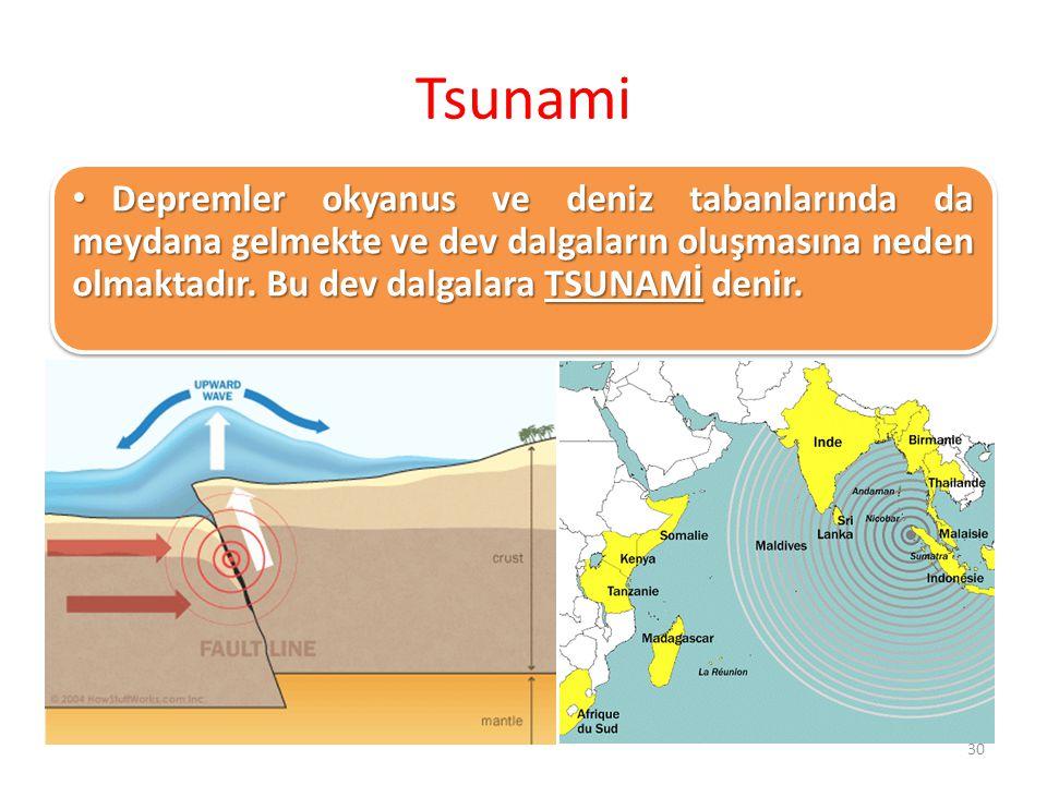 Tsunami Depremler okyanus ve deniz tabanlarında da meydana gelmekte ve dev dalgaların oluşmasına neden olmaktadır. Bu dev dalgalara TSUNAMİ denir. Dep
