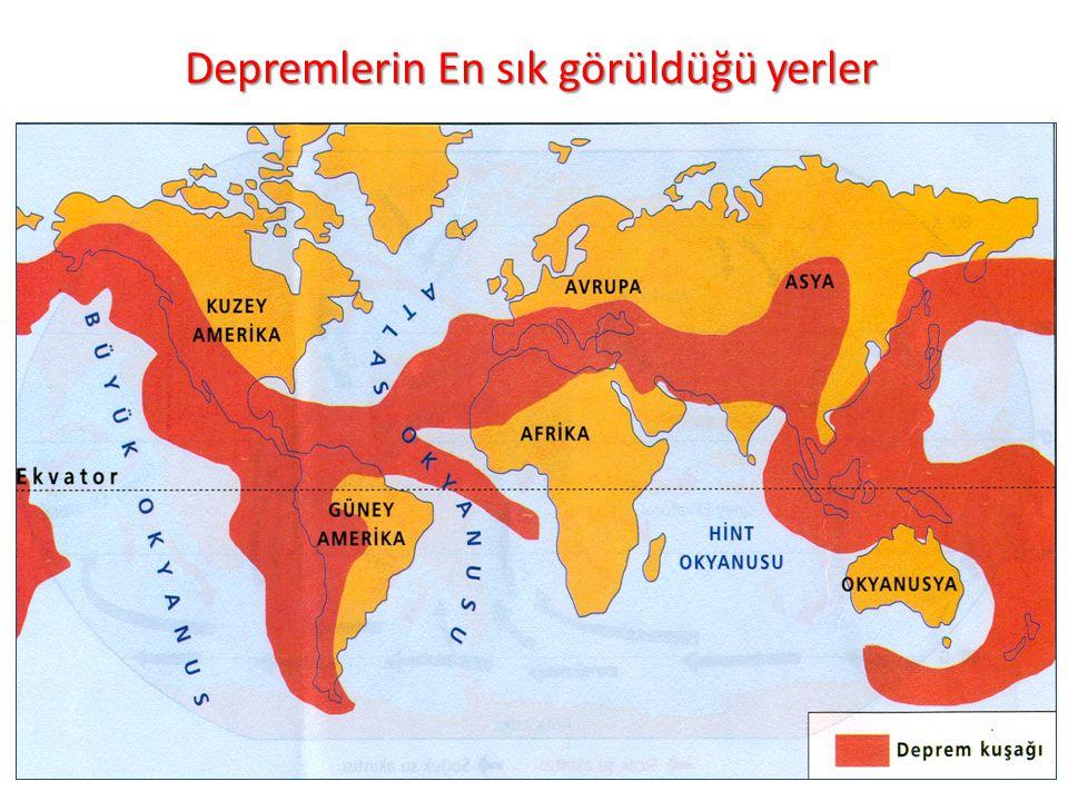 Depremlerin En sık görüldüğü yerler 36