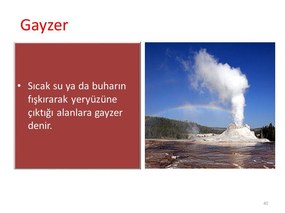 Gayzer Sıcak su ya da buharın fışkırarak yeryüzüne çıktığı alanlara gayzer denir. 40 Charles F. Richter