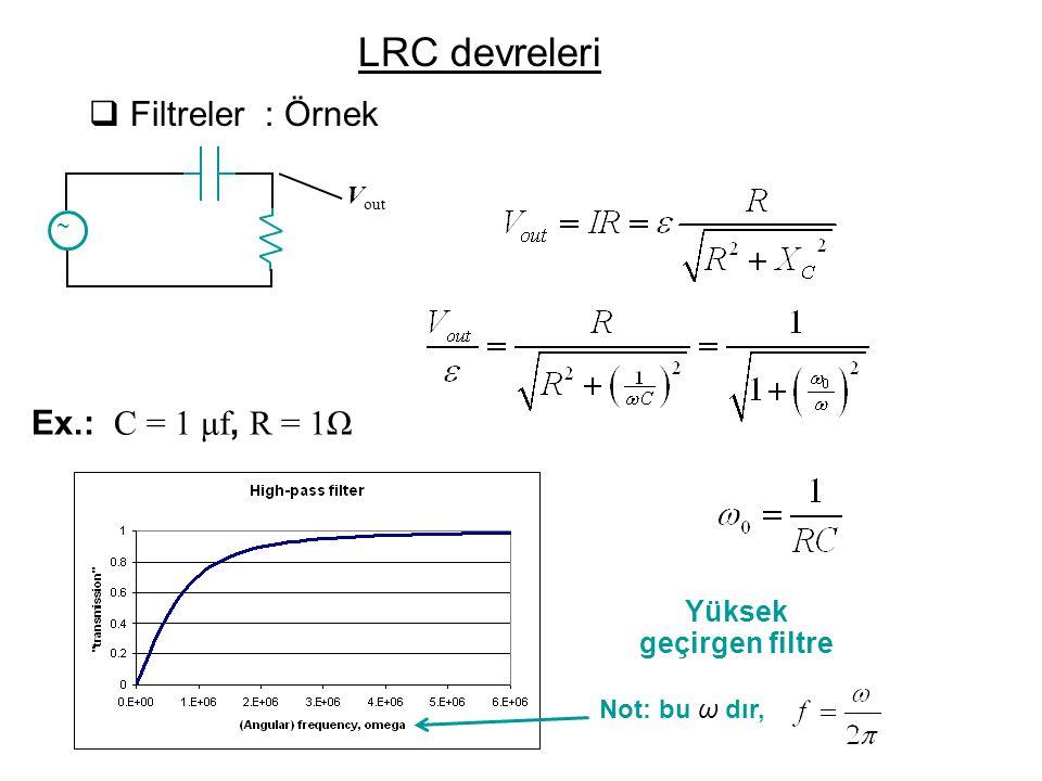  Filtreler : Örnek Ex.: C = 1 μf, R = 1Ω Yüksek geçirgen filtre Not: bu ω dır, ~ V out LRC devreleri
