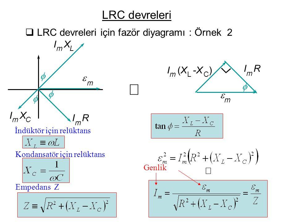  LRC devreleri için fazör diyagramı : Örnek 2  I m R  m  I m (X(X L -X-X C )    I m R  m I m X C I m X L  Empedans Z Genlik LRC devreleri İnd