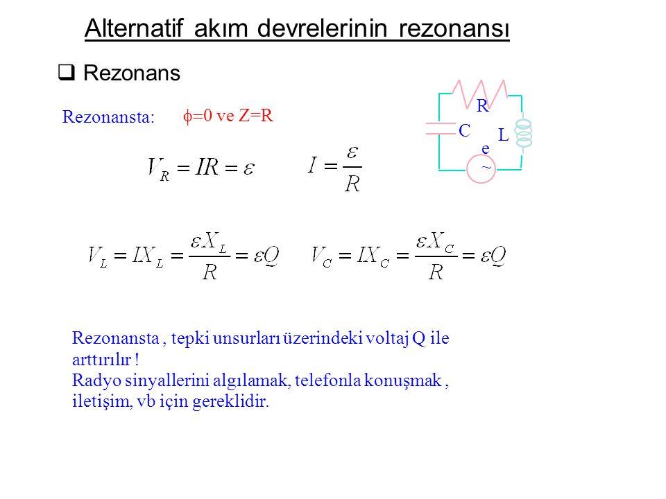Alternatif akım devrelerinin rezonansı  Rezonans Rezonansta: L C ~ e R Rezonansta, tepki unsurları üzerindeki voltaj Q ile arttırılır ! Radyo sinyall