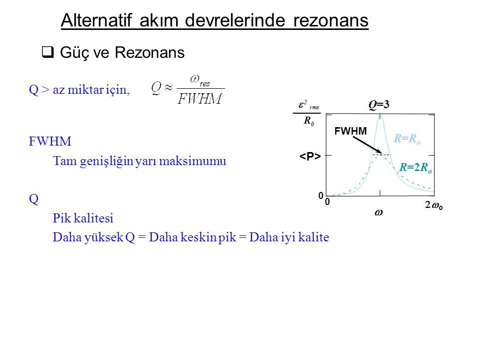 Alternatif akım devrelerinde rezonans  Güç ve Rezonans 0 0 oo  0 2 R rms  R=RoR=Ro R=2R o Q=3 FWHM Q > az miktar için, FWHM Tam genişliğin yarı