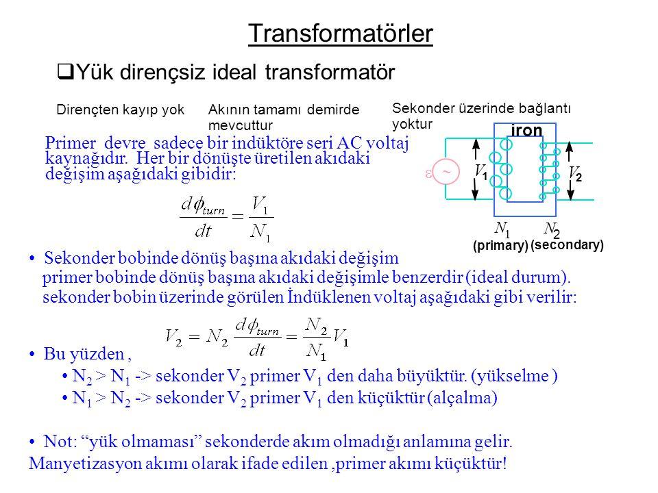 Transformatörler  Yük dirençsiz ideal transformatör Dirençten kayıp yok Akının tamamı demirde mevcuttur Sekonder üzerinde bağlantı yoktur   N 2 N 1