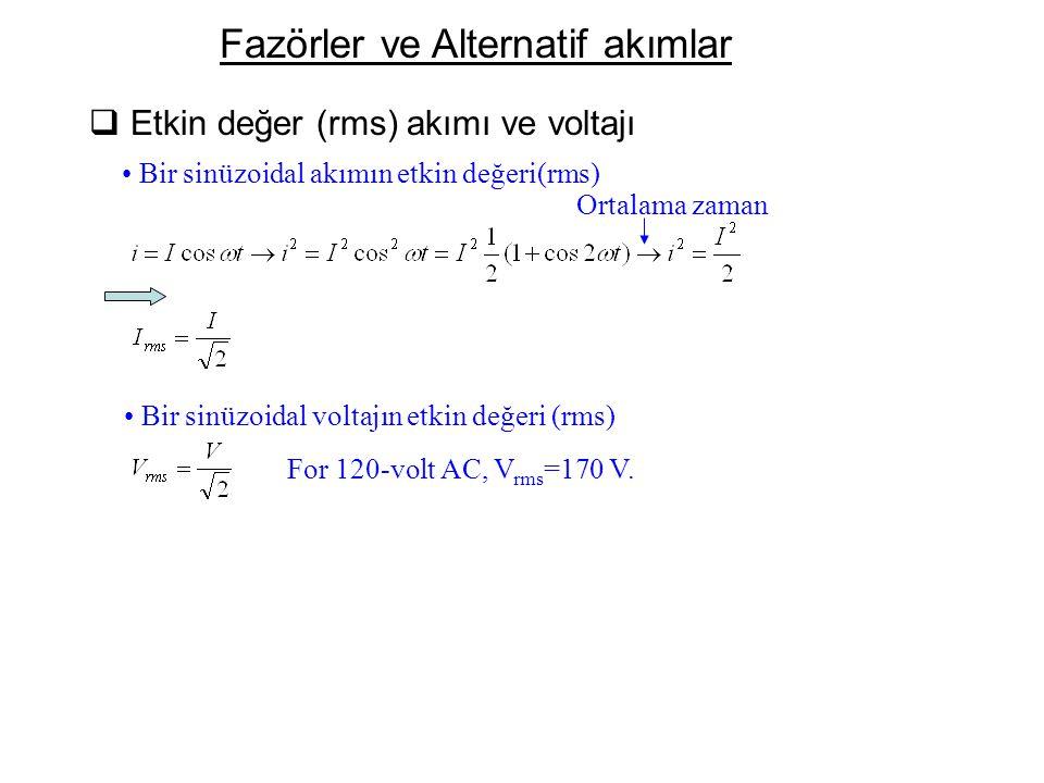 Fazörler ve Alternatif akımlar  Etkin değer (rms) akımı ve voltajı Bir sinüzoidal akımın etkin değeri(rms) Ortalama zaman Bir sinüzoidal voltajın etk