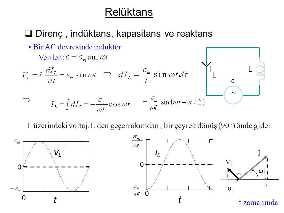  Direnç, indüktans, kapasitans ve reaktans Bir AC devresinde indüktör   L üzerindeki voltaj, L den geçen akımdan, bir çeyrek dönüş (90°) önde gider