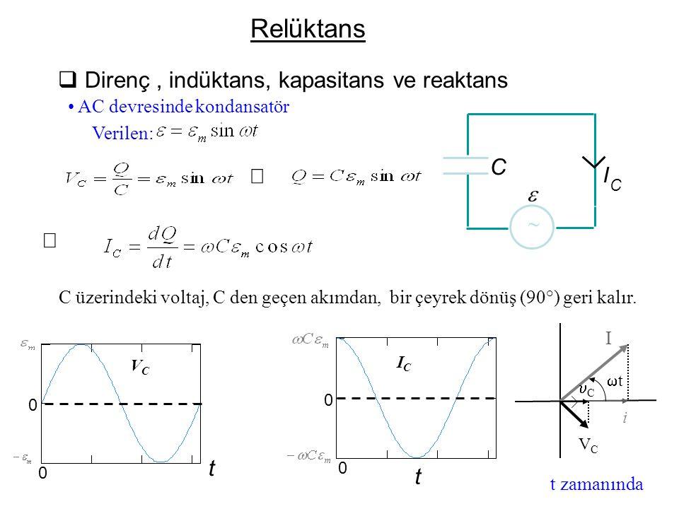  Direnç, indüktans, kapasitans ve reaktans AC devresinde kondansatör    C I C  C üzerindeki voltaj, C den geçen akımdan, bir çeyrek dönüş (90°) g