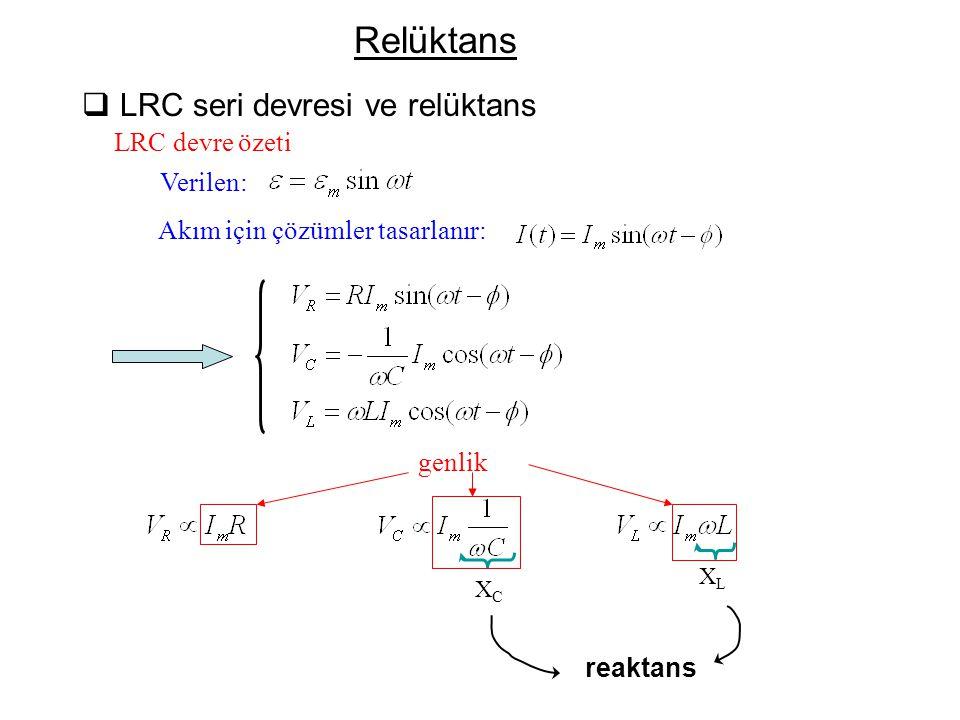 Yüksek ω için, χ C ~0 - Kondansatör bir tel olarak bakılır ( kısa ) Düşük ω için, χ C  ∞ - Kondansatör bir kırılma noktası olarak bakılır.