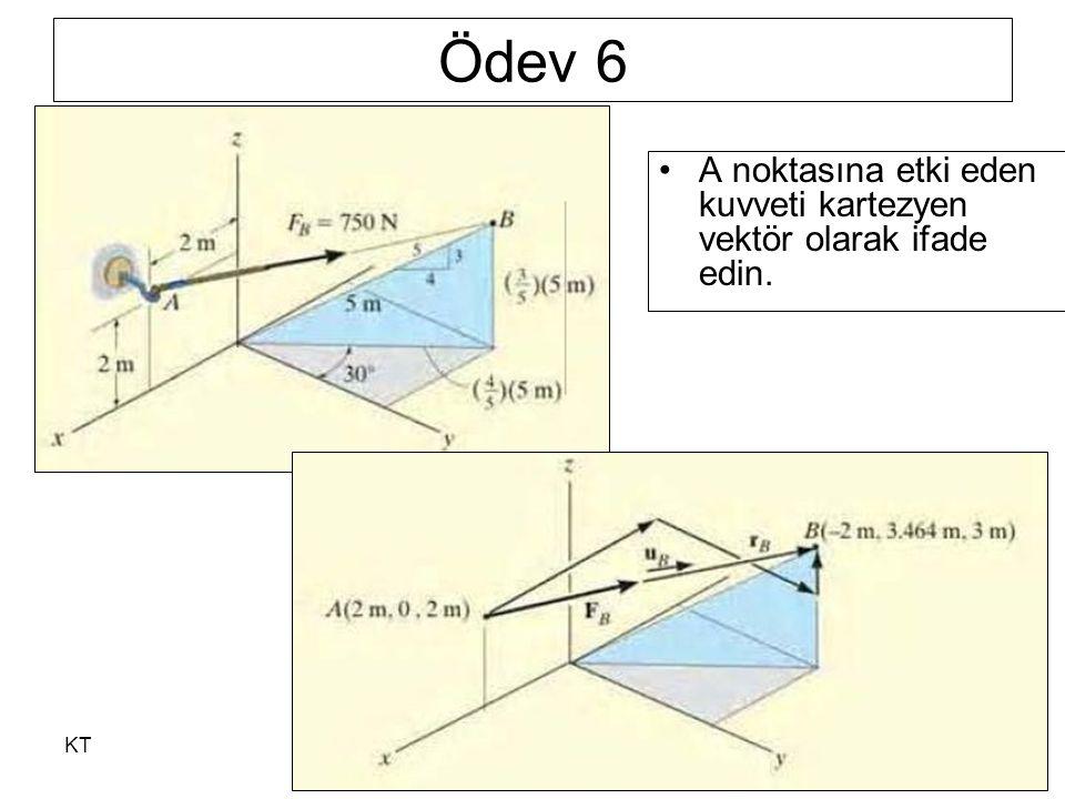KT46 Ödev 6 A noktasına etki eden kuvveti kartezyen vektör olarak ifade edin.