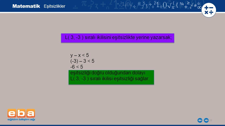 22 Eşitsizlikler L( 3, -3 ) sıralı ikilisini eşitsizlikte yerine yazarsak; y – x < 5 (-3) – 3 < 5 -6 < 5 eşitsizliği doğru olduğundan dolayı L( 3, -3