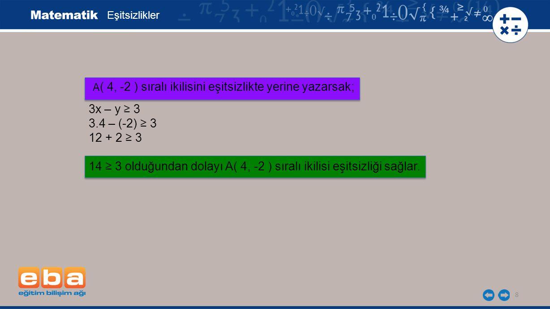 8 Eşitsizlikler 3x – y ≥ 3 3.4 – (-2) ≥ 3 12 + 2 ≥ 3 14 ≥ 3 olduğundan dolayı A( 4, -2 ) sıralı ikilisi eşitsizliği sağlar. A ( 4, -2 ) sıralı ikilisi