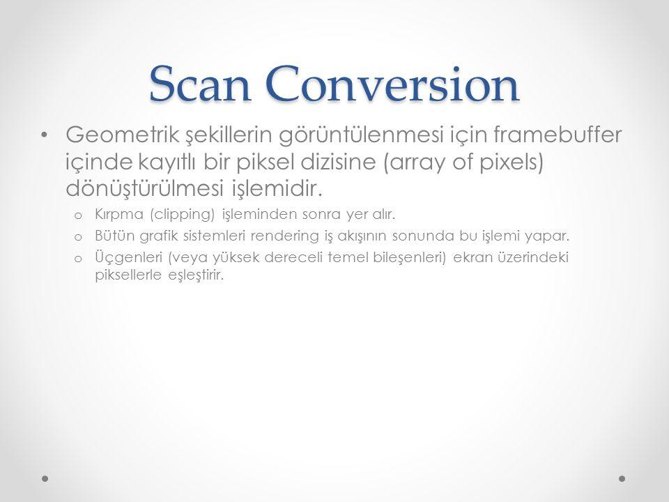 Scan Conversion Geometrik şekillerin görüntülenmesi için framebuffer içinde kayıtlı bir piksel dizisine (array of pixels) dönüştürülmesi işlemidir.