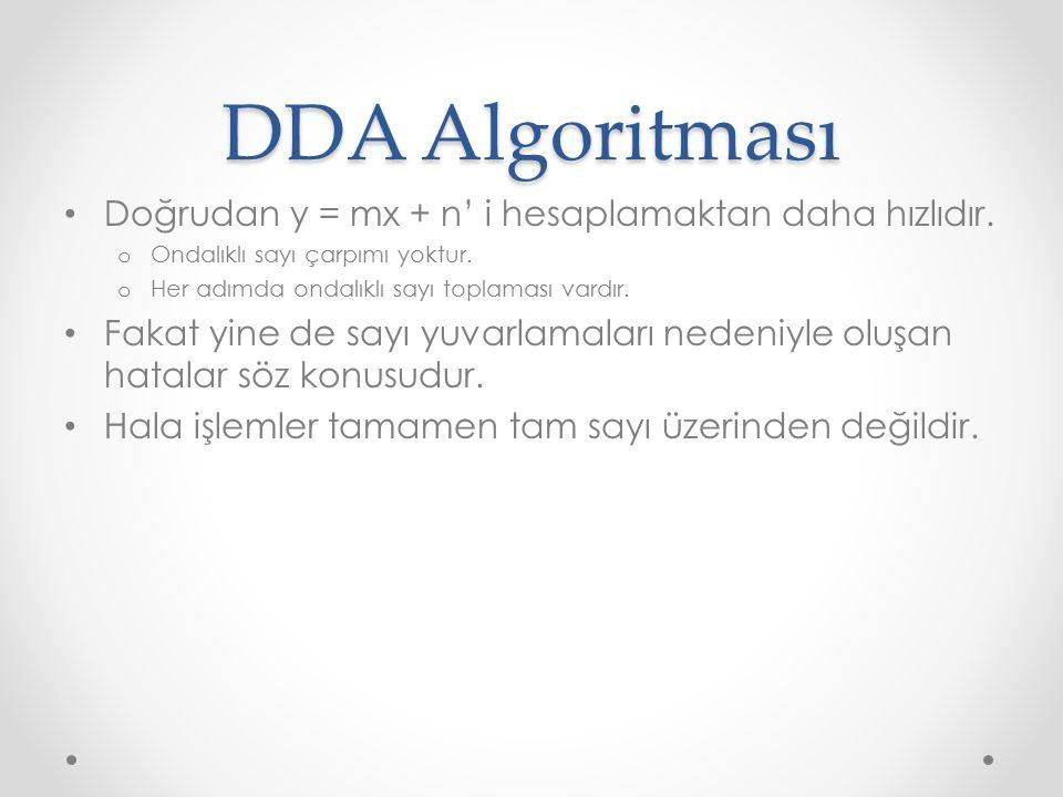 DDA Algoritması Doğrudan y = mx + n' i hesaplamaktan daha hızlıdır.