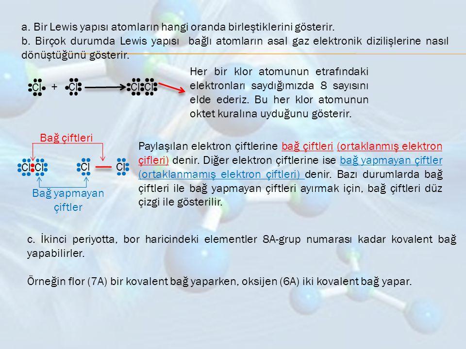 a. Bir Lewis yapısı atomların hangi oranda birleştiklerini gösterir. b. Birçok durumda Lewis yapısı bağlı atomların asal gaz elektronik dizilişlerine