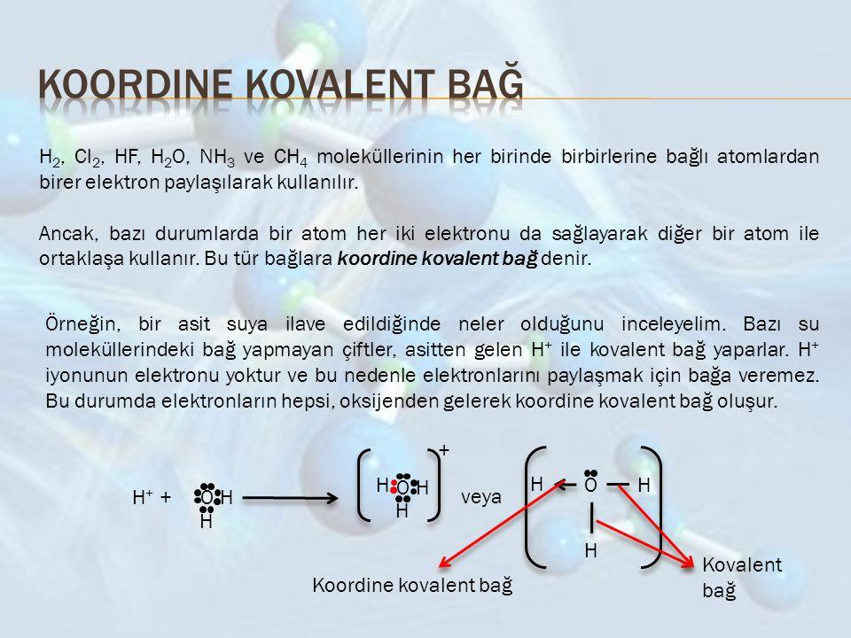 H 2, Cl 2, HF, H 2 O, NH 3 ve CH 4 moleküllerinin her birinde birbirlerine bağlı atomlardan birer elektron paylaşılarak kullanılır. Ancak, bazı duruml