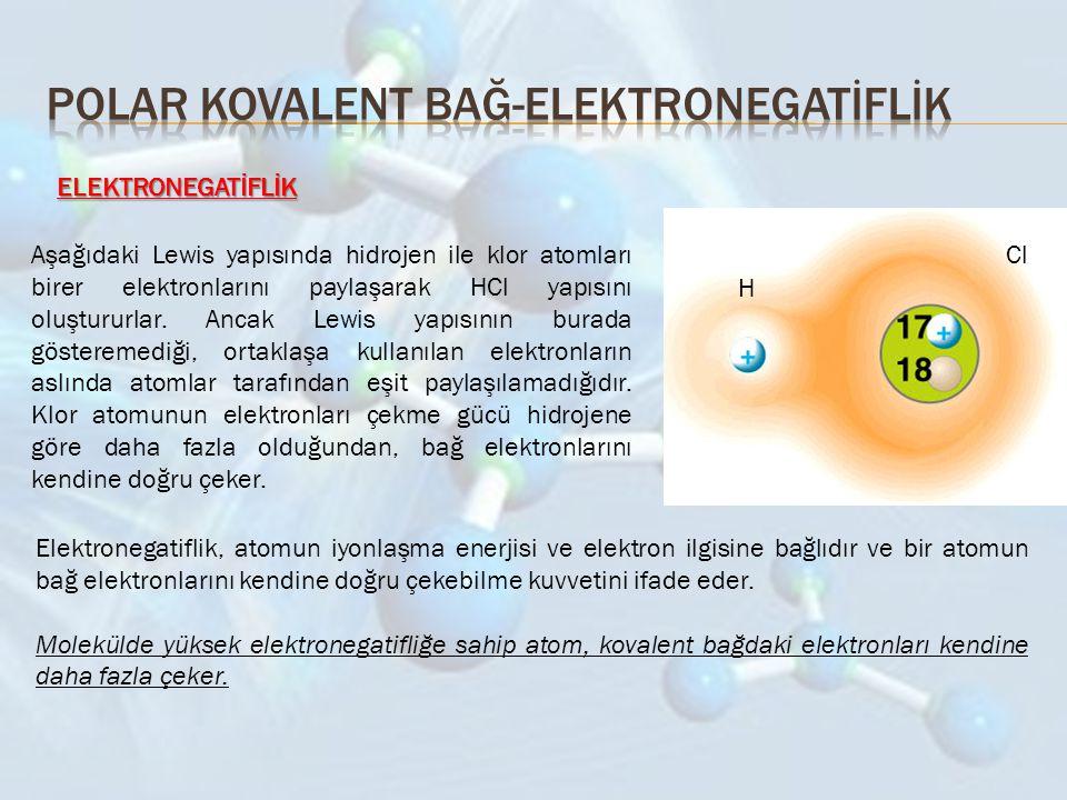 ELEKTRONEGATİFLİK H ClAşağıdaki Lewis yapısında hidrojen ile klor atomları birer elektronlarını paylaşarak HCl yapısını oluştururlar. Ancak Lewis yapı
