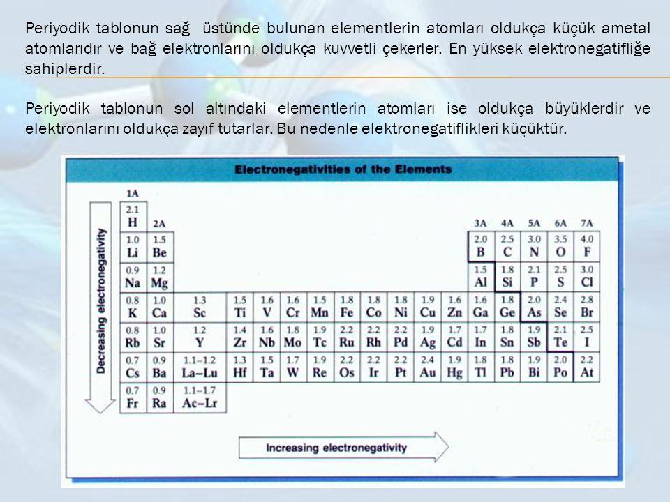 Periyodik tablonun sağ üstünde bulunan elementlerin atomları oldukça küçük ametal atomlarıdır ve bağ elektronlarını oldukça kuvvetli çekerler. En yüks