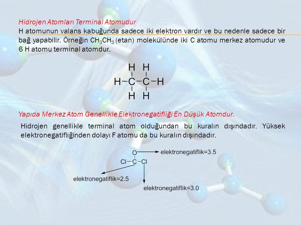 Hidrojen Atomları Terminal Atomudur H atomunun valans kabuğunda sadece iki elektron vardır ve bu nedenle sadece bir bağ yapabilir. Örneğin CH 3 CH 3 (